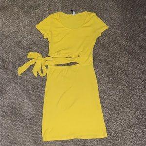 Yellow Cut Out Mini Dress
